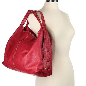 Cold water creek red leather tote bag